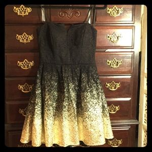 Beautiful black and gold cocktail dress, 7/8.